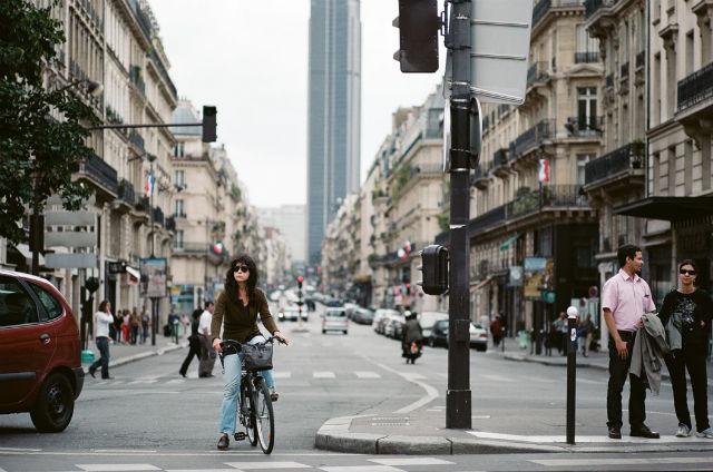 Biker at intersection