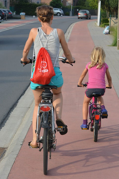Bikers on a bike lane