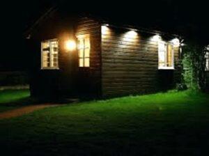Floodlights on house