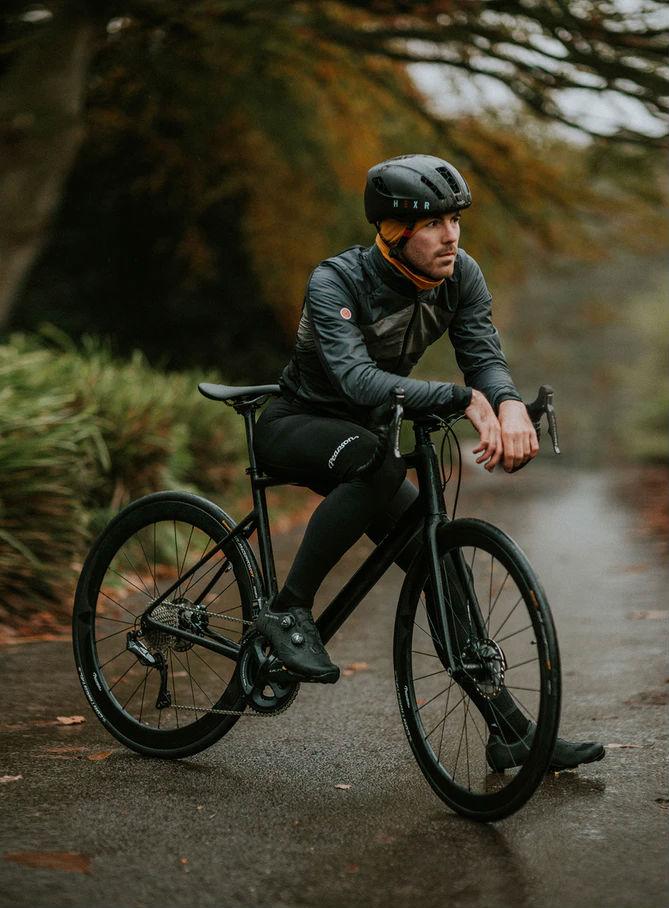 Man on a bike wearing protective gear